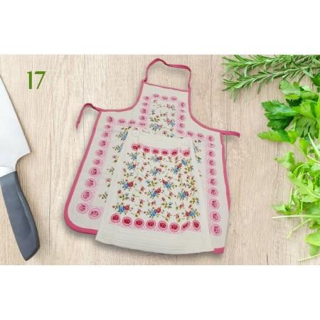 Фартук кухонный Akipek + полотенце, Flowers