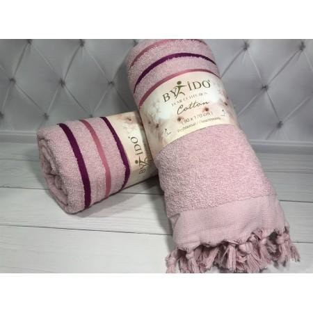 Полотенце махра 100*170 см By Ido розовый