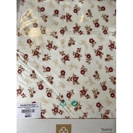 Комплект простынь на резинке с 2 наволочками 50*70 Cotton Collection Spring Flowers