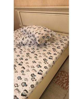 Комплект простынь на резинке с 2 наволочками 50*70 Cotton Collection Penguin