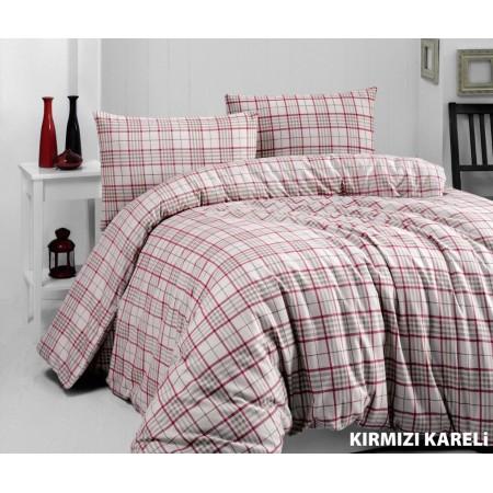 Байковое постельное белье Cotton Collection Kirmizi kareli