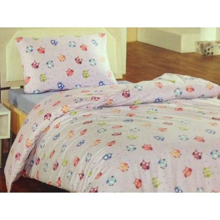 Байковое полуторное постельное белье Cotton Collection Owl