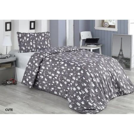 Байковое полуторное постельное белье Cotton Collection Cute