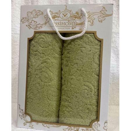 Комплект полотенец Лицевое + Банное Issi Home Green pattern