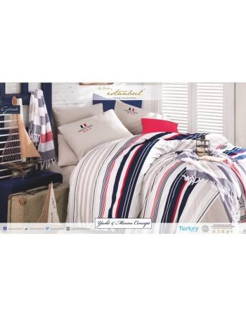 Комплект постельного белья Istanbul Yacht&Marine евро в наборе с двумя полотенцами пештемаль Gorek