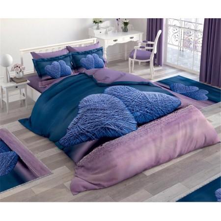 Постельное белье + набор ковриков Le Jardin 3D Purple