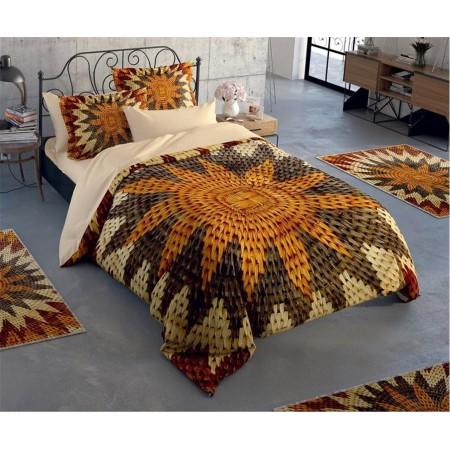Постельное белье + набор ковриков Le Jardin 3D Brown