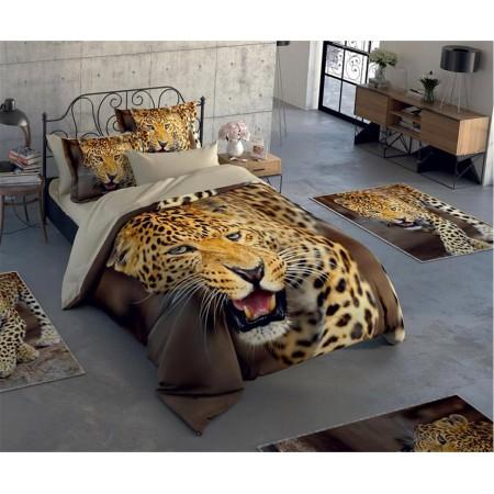 Постельное белье + набор ковриков Le Jardin 3D Cheetah