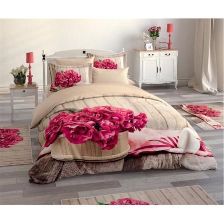 Постельное белье + набор ковриков Le Jardin 3D Flower