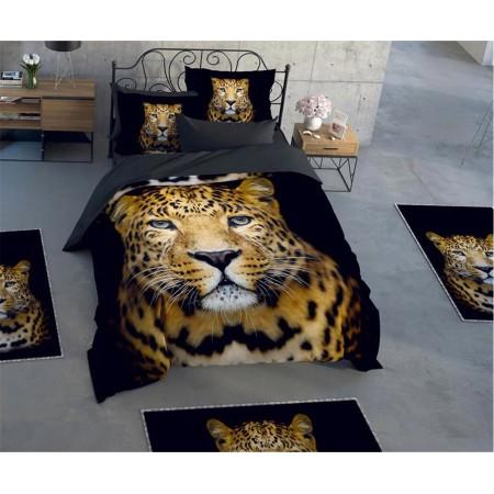 Постельное белье + набор ковриков Le Jardin 3D Leopar