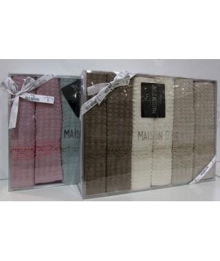 Набор полотенец с кружевом Maison D'or AUTENTIK 6 шт. 40*60 (кофейный)