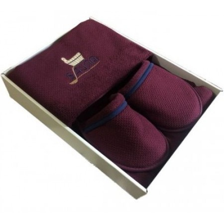 Мужской набор для бани и сауны Maison D'or Sauna Dufour бордовый