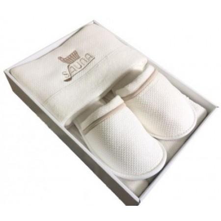 Мужской набор для бани и сауны Maison D'or Sauna Dufour кремовый