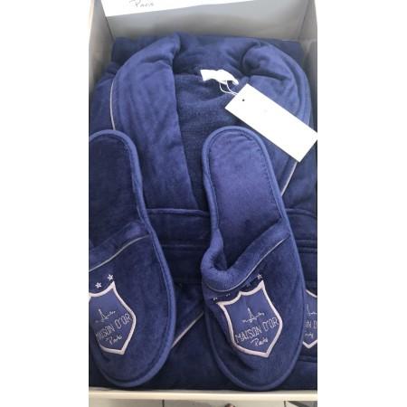 Мужской халат MAISON D'OR Boswell + тапочки (синий)