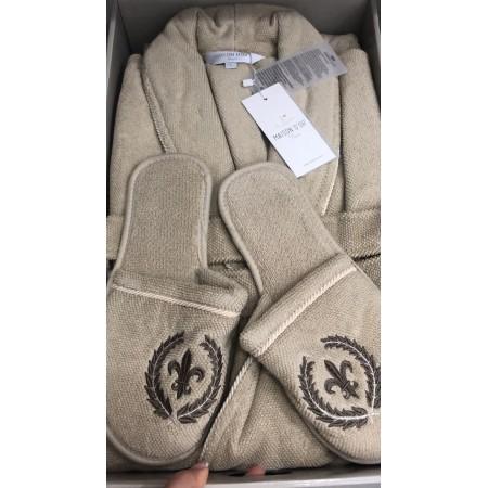 Мужской халат MAISON D'OR SEYMOUR + тапочки (бежевый)