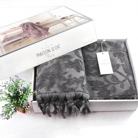 Набор из двух махровых полотенец Maison D'or Sanda 50х100 см + 85х150 см, серый