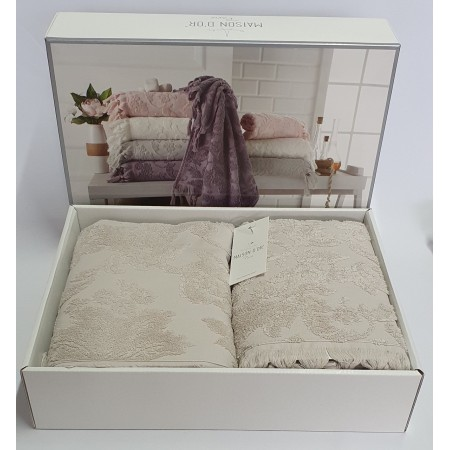 Набор из двух махровых полотенец Maison D'or Sanda 50х100 см + 85х150 см, бежевый