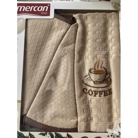 Набор вафельных полотенец Mercan Coffee Waffle 3 шт