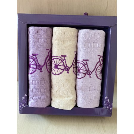 Набор вафельных полотенец Mercan Lavender Bicycle 45*65 3 шт