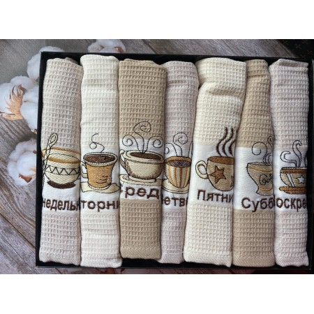 Набор вафельных полотенец Mercan Coffee Week 50*70 7 шт