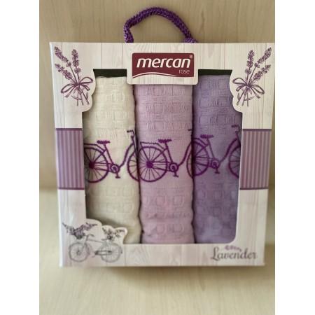 Набор вафельных полотенец Mercan Lavender Bike 45*65 3 шт