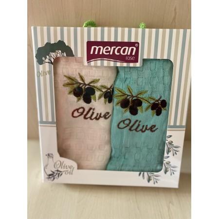 Набор вафельных полотенец Mercan Olive Oil 45*65 2 шт