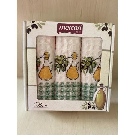 Набор вафельных полотенец Mercan Olive Oil Waffle 50*70 3 шт