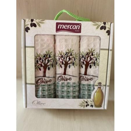 Набор вафельных полотенец Mercan Olive Waffle 50*70 3 шт