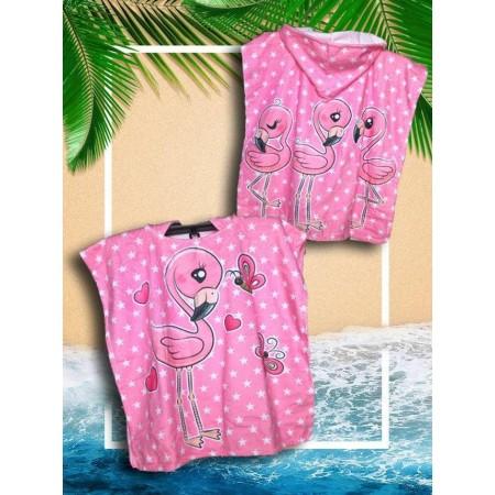 Детское пончо By Ido Pink Flamingo