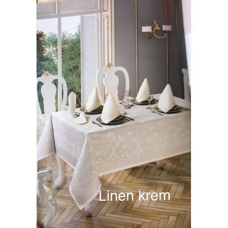 Скатерть Tabe Collection + салфетки 6 шт Linen krem