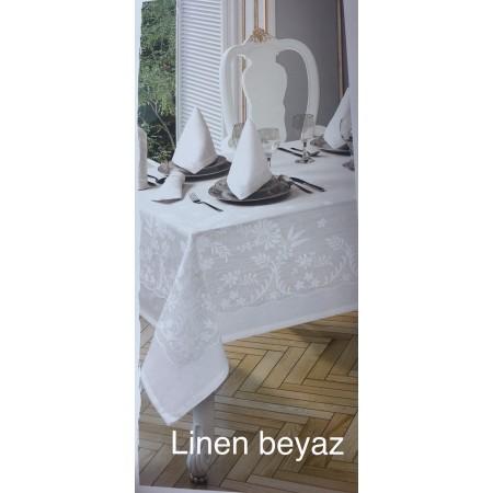 Скатерть Tabe Collection + салфетки 6 шт Linen beyaz