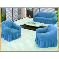 Чехол для дивана + 2 кресла Karven голубой