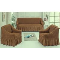 Чехол для дивана + 2 кресла цвет коричневый